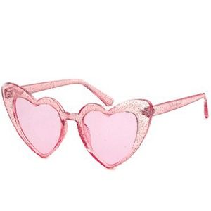 Accessories - Oversized Glitter Heart Sunglasses Pink With Pink